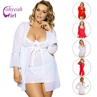 RW80185 White Red 3 Pcs Sexy Lingerie Hot Transparent Mesh Robe Plus Size Underwear Women Nighty