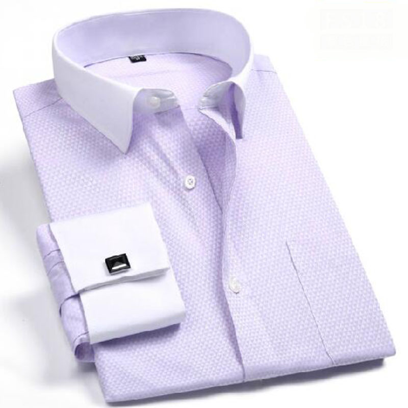 Formal Business Men Long Sleeve Printed Dress Shirts Camisa Turn down Collar Dobby Pure Cotton Shirts Chemise High Quality in Dress Shirts from Men 39 s Clothing