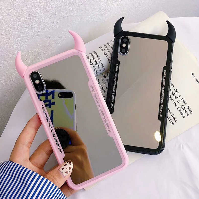 b70862c28550a LOVECOM Devil Horn Clear Cases For iPhone XS Max XR XS X 6 6S 7 8 Plus  PC+TPU Full Body Acrylic Phone Back Cover Coque Gifts