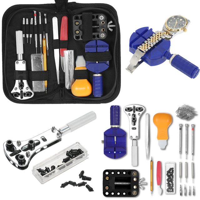 146PCS Watch Repair Tool Kit Watchmaker Case Opener Link Remover Spring Bar Set
