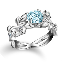 AMORUI Fashion Floral Blue CZ Stone Queen Ring Silver Leaf Blue Crystal Ring Gift Engagement/Wedding Party Rings for Women