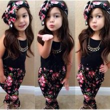 Популярная летняя детская одежда для девочек, черный жилет без рукавов, штаны с цветочным принтом, шарф, детский Модный стильный комплект одежды из 3 предметов для девочек