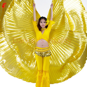 Image 2 - Groothandel 360 Graden Buikdans Vleugel Voor Vrouwen Buikdans Props Goud En Silve Doek Buikdans Vleugel Meisjes Dans accessoires