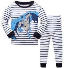 2019 new design 100% cotton high quality boys batman dinosaur pajamas pyjama kids shark baby clothing set