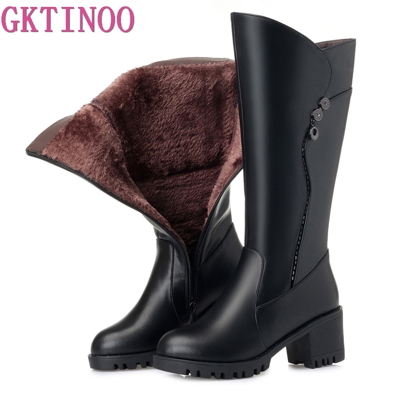 GKTINOO Womens Winter Boots Plush Inside Warm Shoes Woman High Heels Soft Leather Shoes Platform Knee High Boots Footwear BotasGKTINOO Womens Winter Boots Plush Inside Warm Shoes Woman High Heels Soft Leather Shoes Platform Knee High Boots Footwear Botas