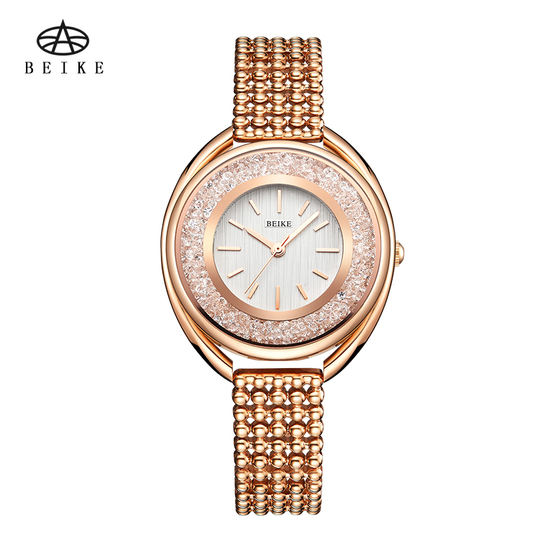 New Fashion Stainless Steel Leather Band Quartz Wtach Luxury Women Rhinestone Watches Valentine Gift