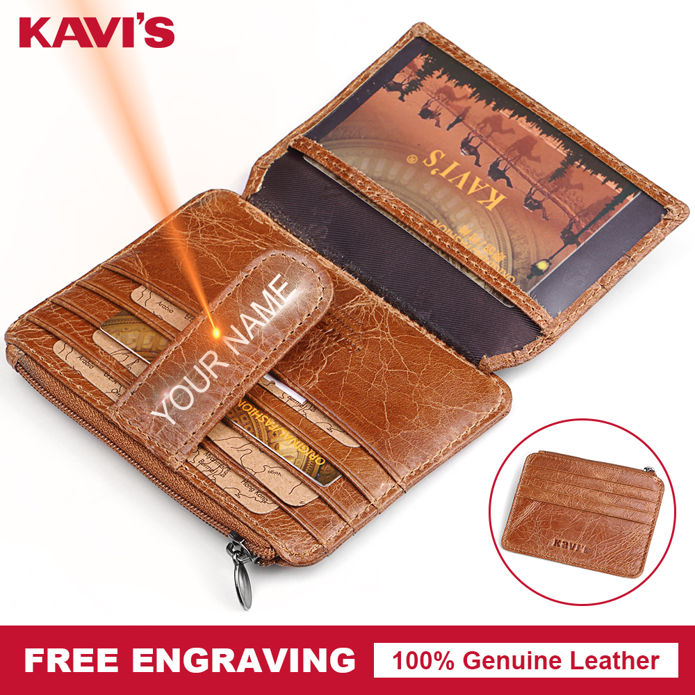 KAVIS Genuine Leather Card Zipper Holder Hasp Female Real Gift For Men Women Credit Card Wallets Case Coin Purse Slim Thin Mini