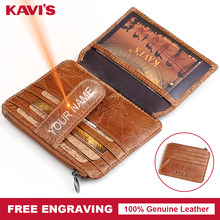KAVIS Genuine Leather Card Zipper Holder Hasp Female Real Gift For Men  Women Credit Card Wallets Case Coin Purse Slim Thin Mini 7f3ced92b090