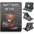 Bear Don't Touch My Pad Pattern 360 Degree Rotating Stand Cartoon Leather Case for iPad Pro 9.7 Air3
