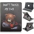 Urso não toque na minha almofada padrão 360 graus de giro stand caso de couro dos desenhos animados para ipad pro 9.7 air3