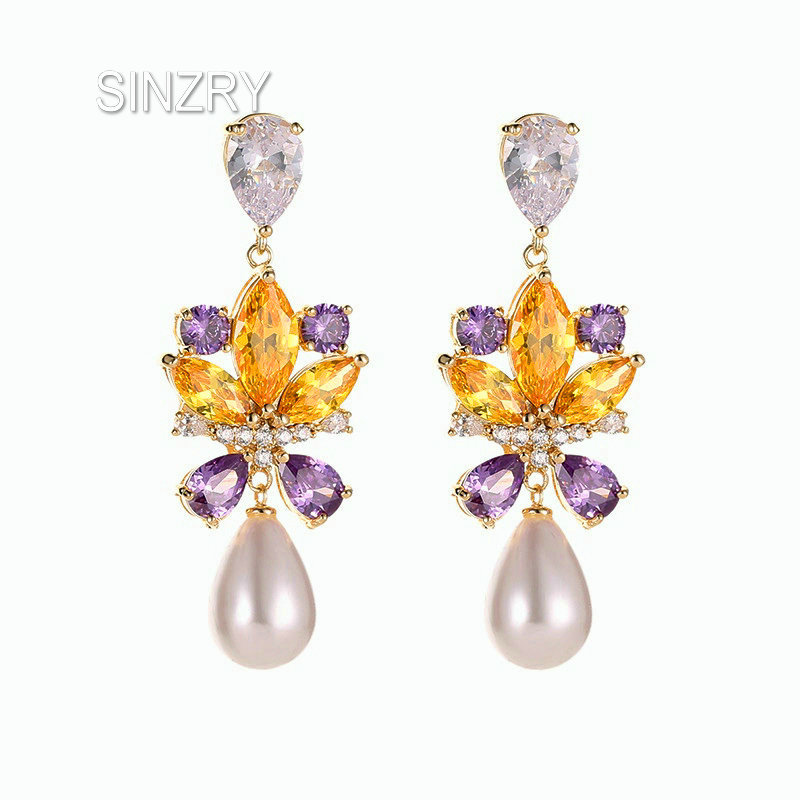 Sinzry Elegant Colorful Cubic Zircon Crystal Flower Drop