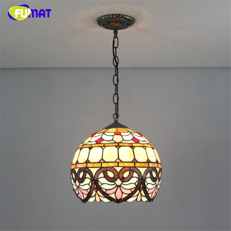 FUMAT Tiffany Baroque Pendant Lights European Vintage Light For Living Room Restuarant Bar Creative Stained Glass Shade Pendant fumat stained glass lamp european vintage glass pendant light for living room baroque led lights artistic glass pendant light