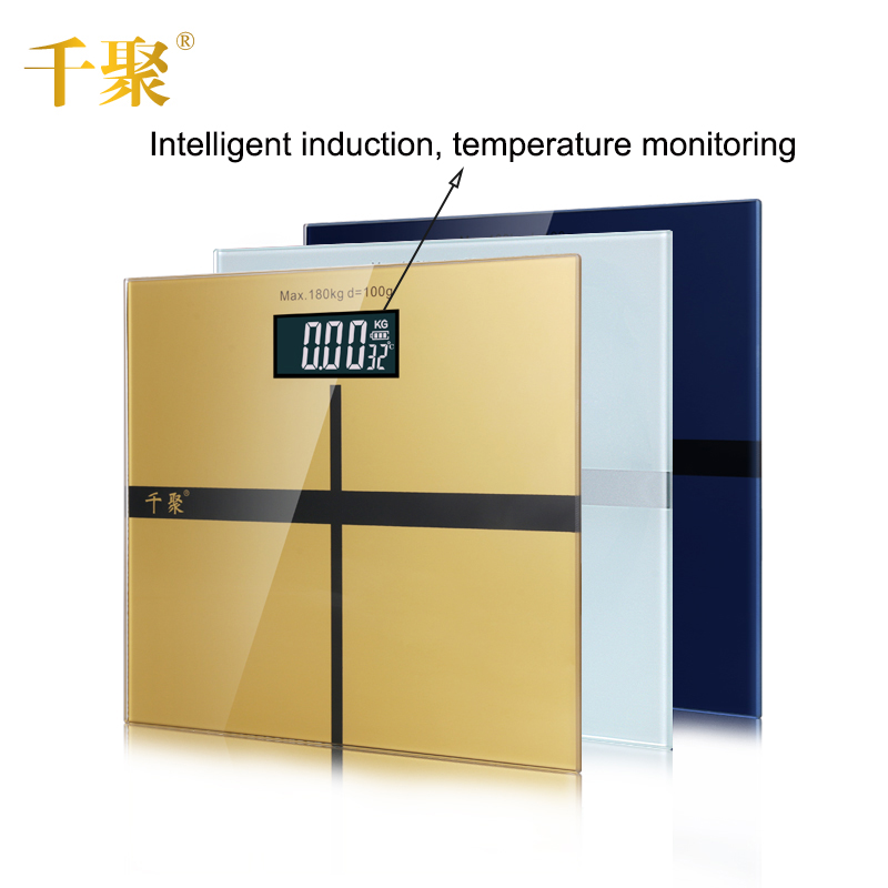 Bathroom Floor Scale Household Electronic Digital Body Bariatric LCD Display Division Value 180kg/100g temperature monitoring