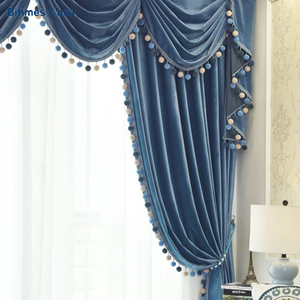 Image 4 - New Color Velvet Blackout Window Curtain With Pompon Decoration Ball High Shading Solid Color For Living Room Bedroom Curtain