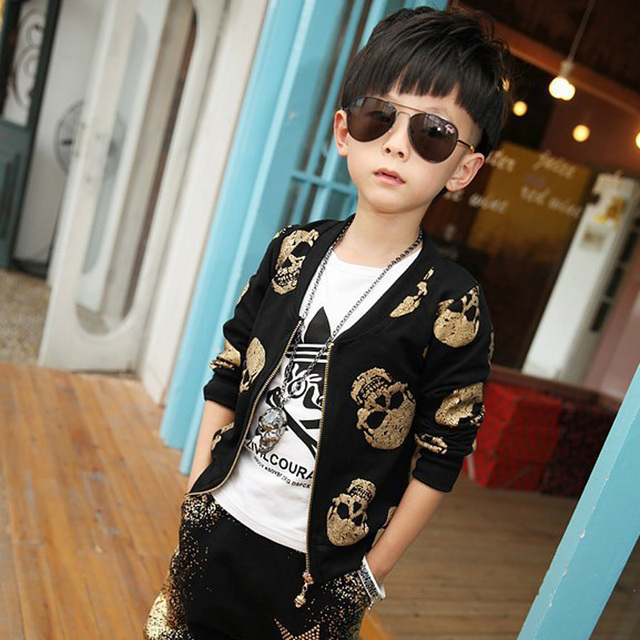 Skull Boys Sets 4-13Years Old Children Long Sleeves Jacket and Pant Autumn Cool Students Haroun Pants suit Fashion Kids Sets