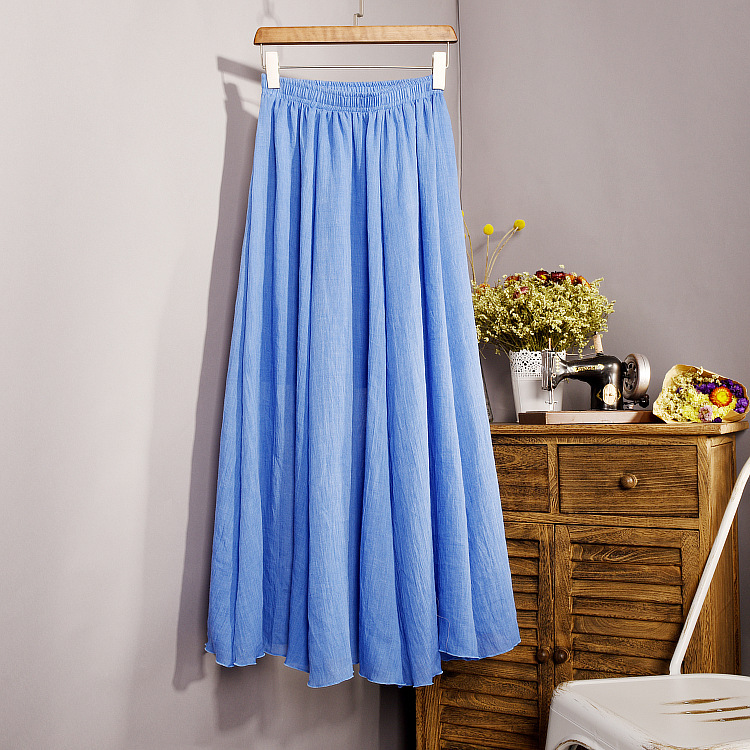 Frauen Elegante 16 Farbe Hohe Taille Elastische Taille Leinen - Damenbekleidung - Foto 5