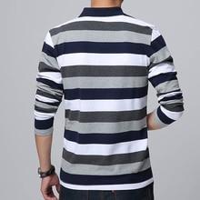 High Quality 2018 Autumn Men's Stripe Embroidery T-shirt Letters Print Long Sleeved T-shirt Lapel Shirt T-shirt Large Size 5XL