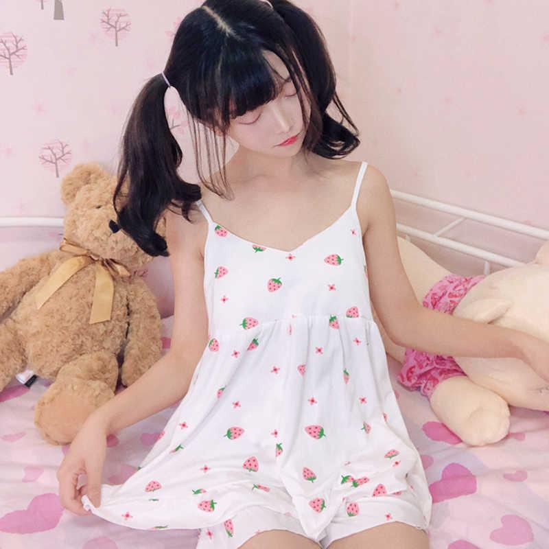 Harajuku клубника Графический кремовый белый домашний Нижнее белье Женские  японские модные милые пижамы для девочек подростков ac112741345c9