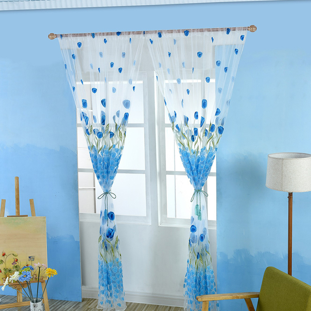 100200cm Floral Voile Sheer Panel Window Bathroom Curtain Door Divider Drape Romantic Pink