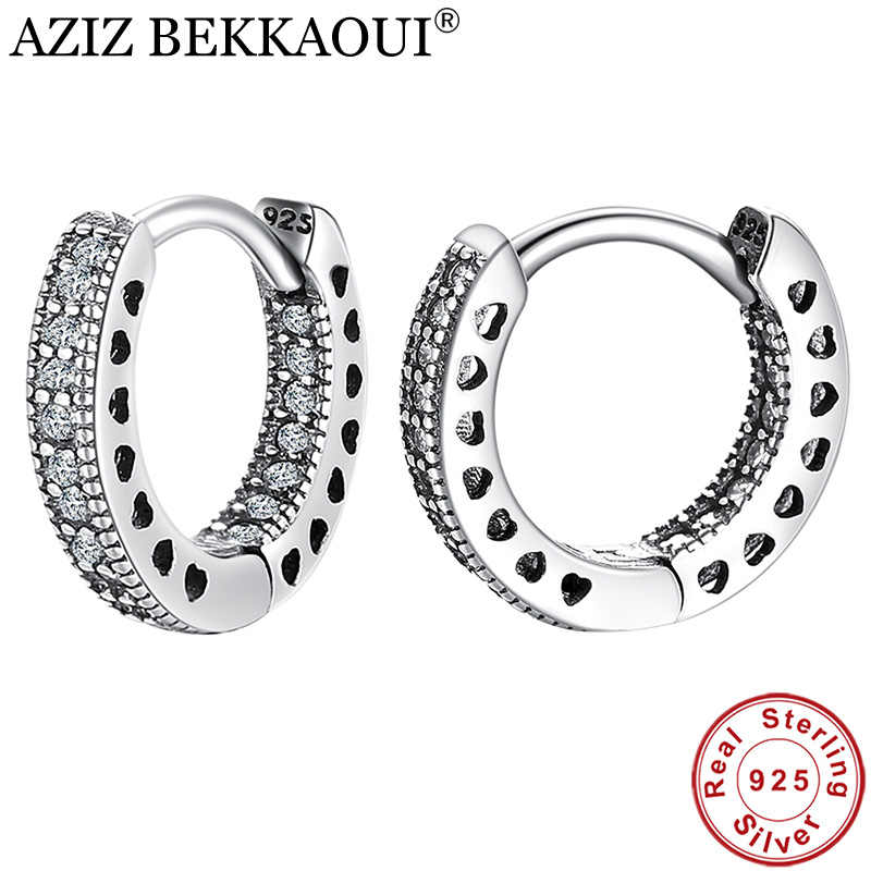 AZIZ BEKKAOUI 925 Sterling Silver CZ Simple Female Hoop Earrings Jewelry for Women Sterling Silver Jewelry Christmas Gift