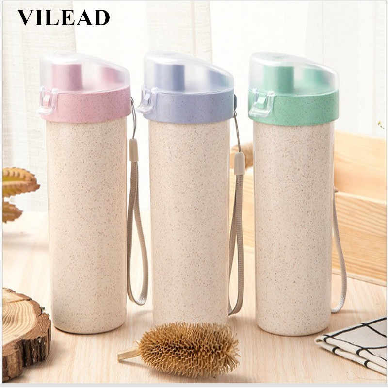 VILEAD Wheat Sports Water Bottle Environmental Incense Leak-Proof Portable Drinking Bottle Outdoor Plastic Bottle with Rope