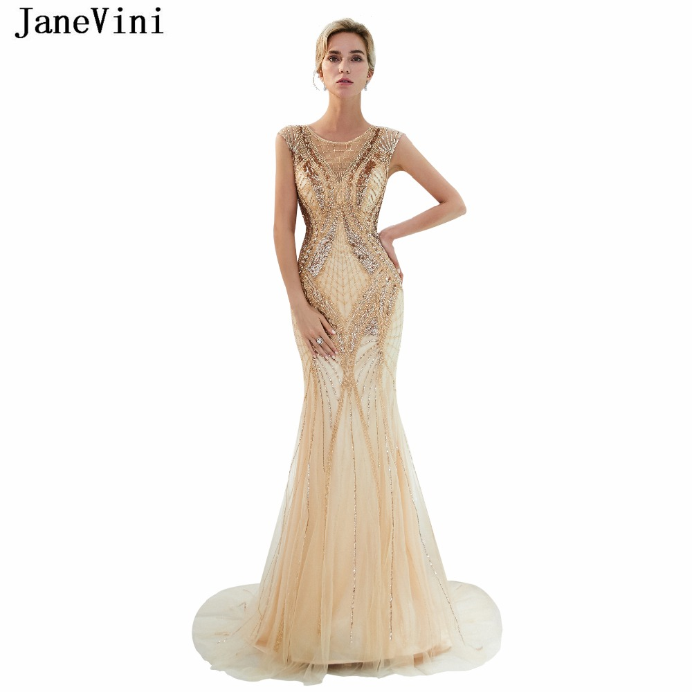 JaneVini Luxury Full Beaded Mermaid   Bridesmaid     Dresses   Sweep Train 2018 Sheer Scoop Neck Zipper Back Tulle Long Prom Party Gowns