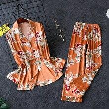 Daeyard kadın Pijama lüks çiçek baskı gömlek ve pantolon 2 adet Pijama seti ipek Pijama Pijama bahar kıyafeti ev giysileri