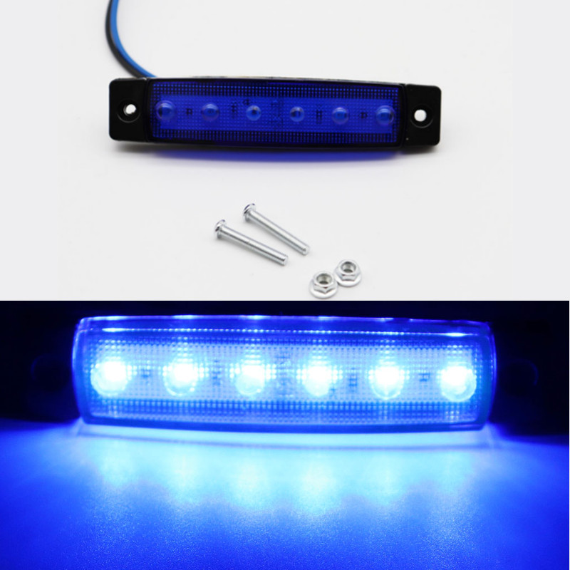 2pcs 12V Car External Lights Blue 6 SMD LED Auto Car Truck Lorry Side Marker Indicator Trailer Lights Tail Rear Side Lamps