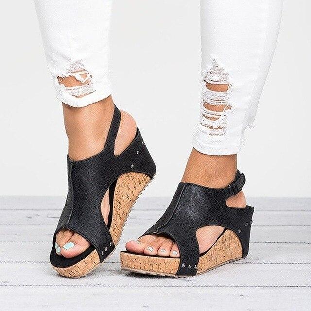 Phụ nữ Dép 2018 Nêm Giày Phụ Nữ Cao Gót Dép Với Nền Tảng Giày Nữ Gót Nêm Peep Toe Phụ Nữ Mùa Hè Giày
