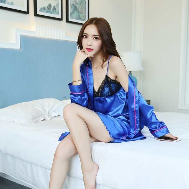Autumn new fashion simulation silk long-sleeved two-piece sling pajamas