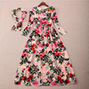 2016 New Early High Quality Autumn Couture Europe Heavy Sequins Beaded Colorful Print Long Maxi Dress