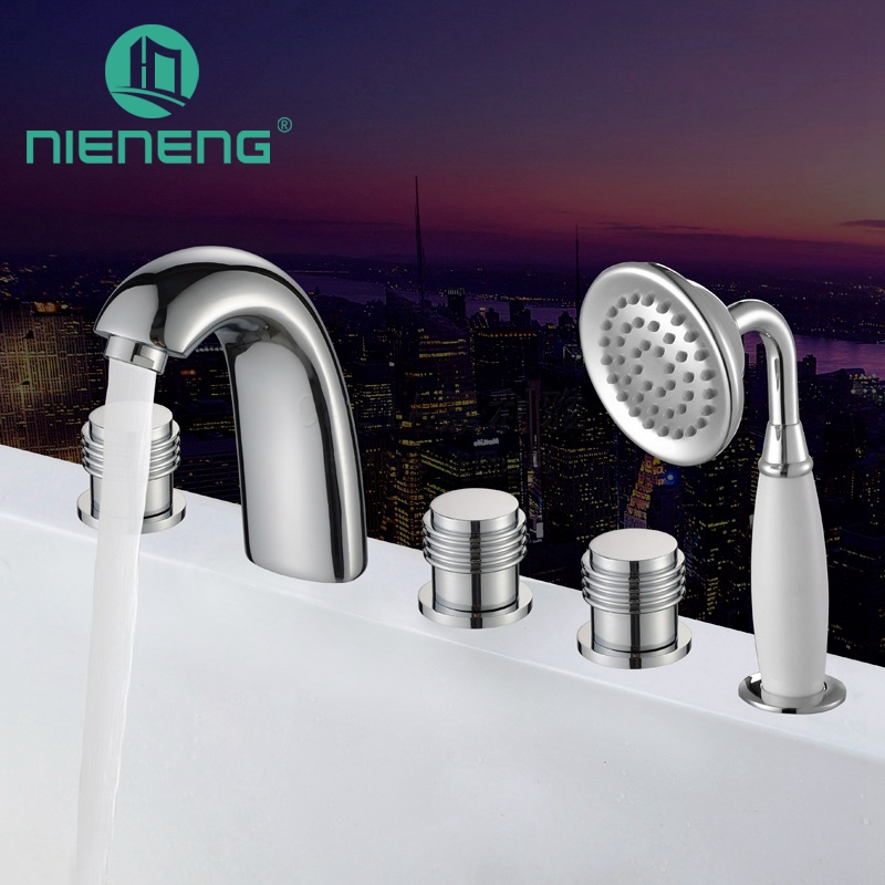 Nieneng Chrome Roman Tub Faucet Bath Shower Sanitary Ware Luxury Shower Retro Bathroom Faucet Water Heater Thermostat ICD60647