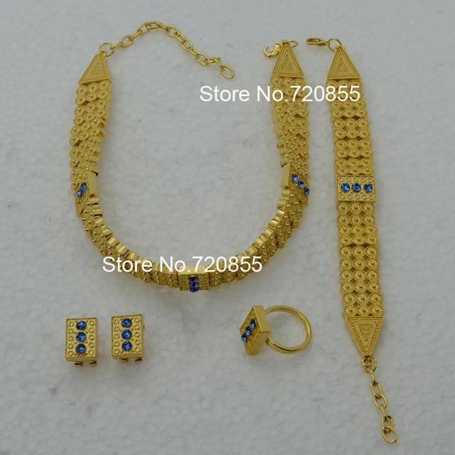 Chapado en oro de etiopía set joyería gargantillas collar anillo pendiente de la pulsera fija eritrea etiopía habesha de áfrica conjunto de joyas