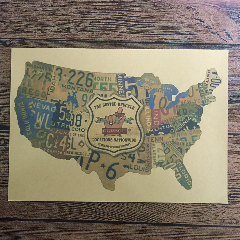 Top fashion DC-061 vintage poster United States map home decorative pictures for bedroom wall art craft sticker 42x30 cm