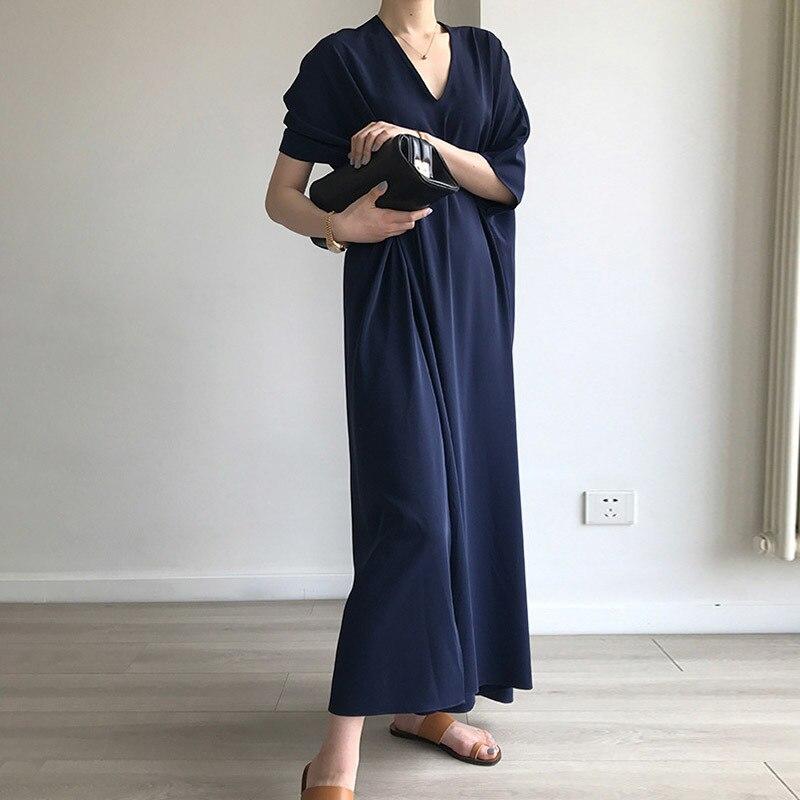 TWOTWINSTYLE Hohe Split Kleid Sommer V Neck Batwing Hülse Oversize Lang Urlaub Kleider 2019 Mode Weibliche Casual Kleidung-in Kleider aus Damenbekleidung bei  Gruppe 2