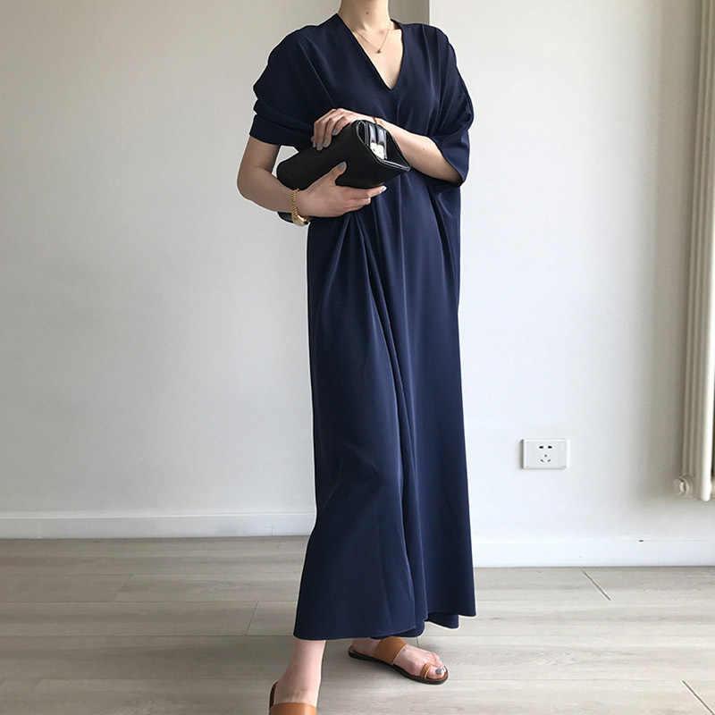 TWOTWINSTYLE 高スプリットドレスサマー V ネックバットウィングスリーブ特大ロング休日のドレス 2019 ファッション女性カジュアル服