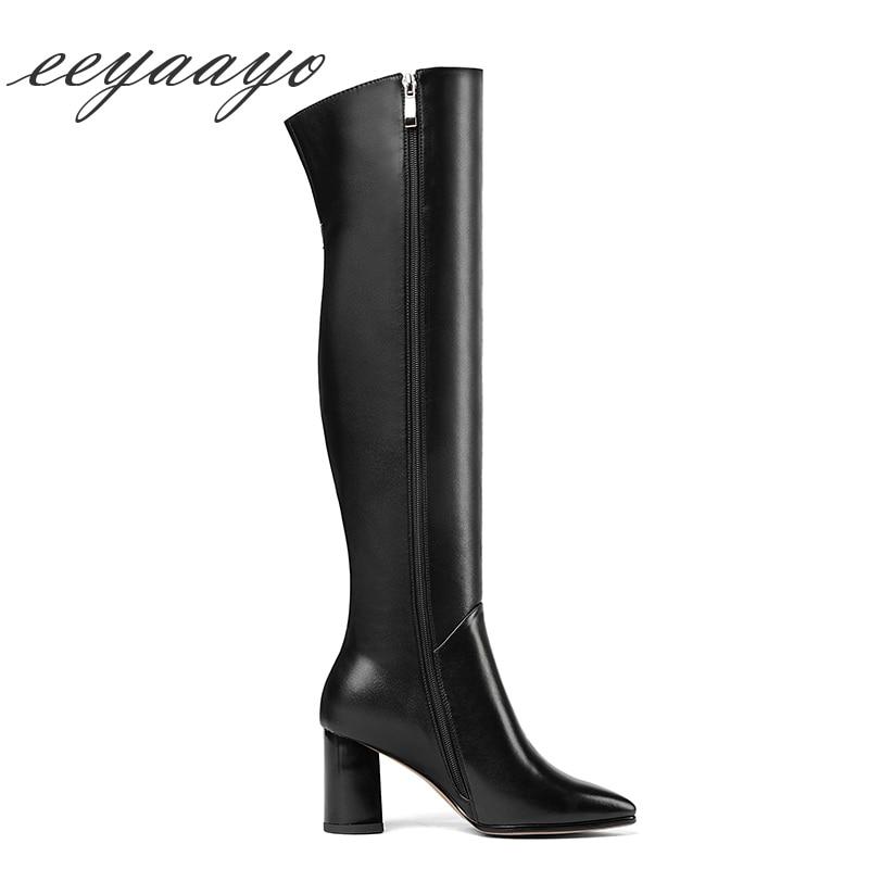 Bottes À Noir Véritable Talons Nouveau Thight D'hiver genou the Glissière En Orteil Womenshoes Over Cuir Black Pointu Hauts Haut Sexy Femmes 2018 vzWqxUw5Px