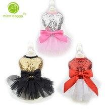 Милое шикарное платье-пачка с бантом для собак и щенков; роскошное платье принцессы для свадебной вечеринки; летняя одежда для собак и чихуахуа