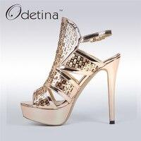 Odetina 2017 New Women 12 CM Ankle Strap Platform Sandals High Heels Hollow Out Sandals Peep