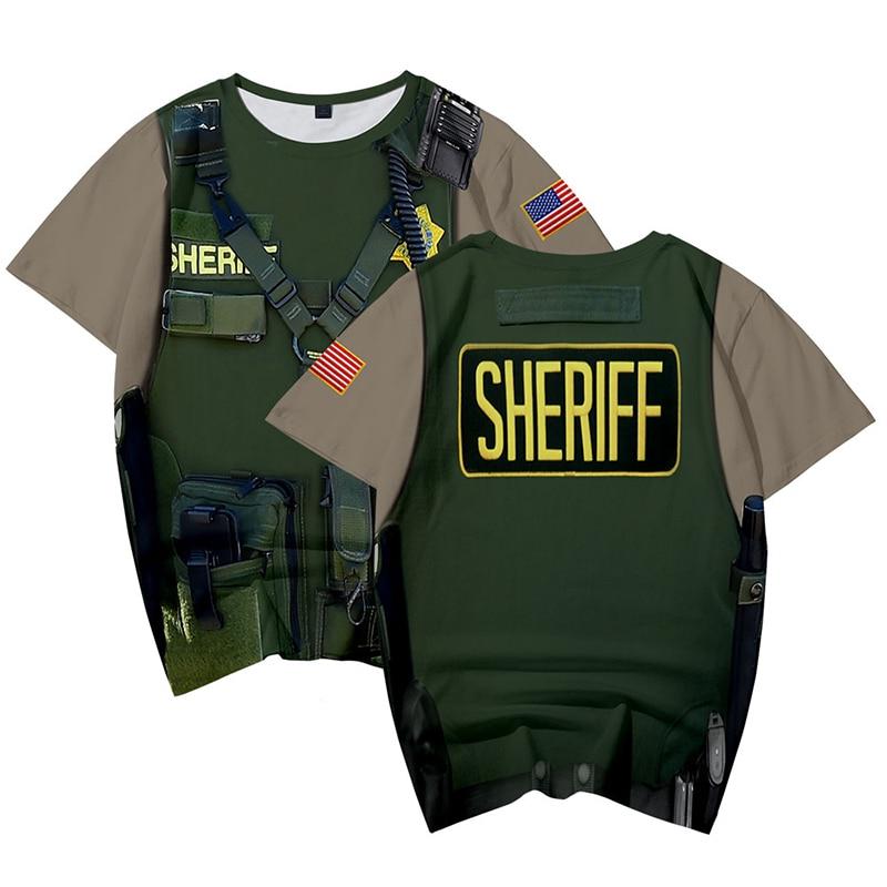 Moda de verano fresco 3d T camisas uniforme militar SHERIFF impreso casuales de los hombres las mujeres Camiseta de manga corta 3D camisetas camisa Pala táctica multifunción montacargas militar para exteriores con pala para nieve todoterreno pala plegable para supervivencia al aire libre