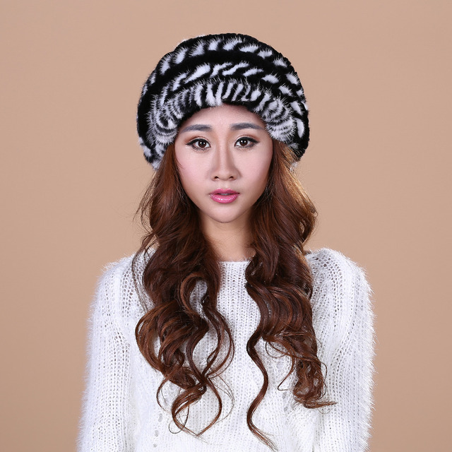 Winter Hats With Natural Real Fur Female Cap Mink Fur  Knitted Caps Pineapple Hat Hold Ears Mink Fur Hat free shipping#SD10