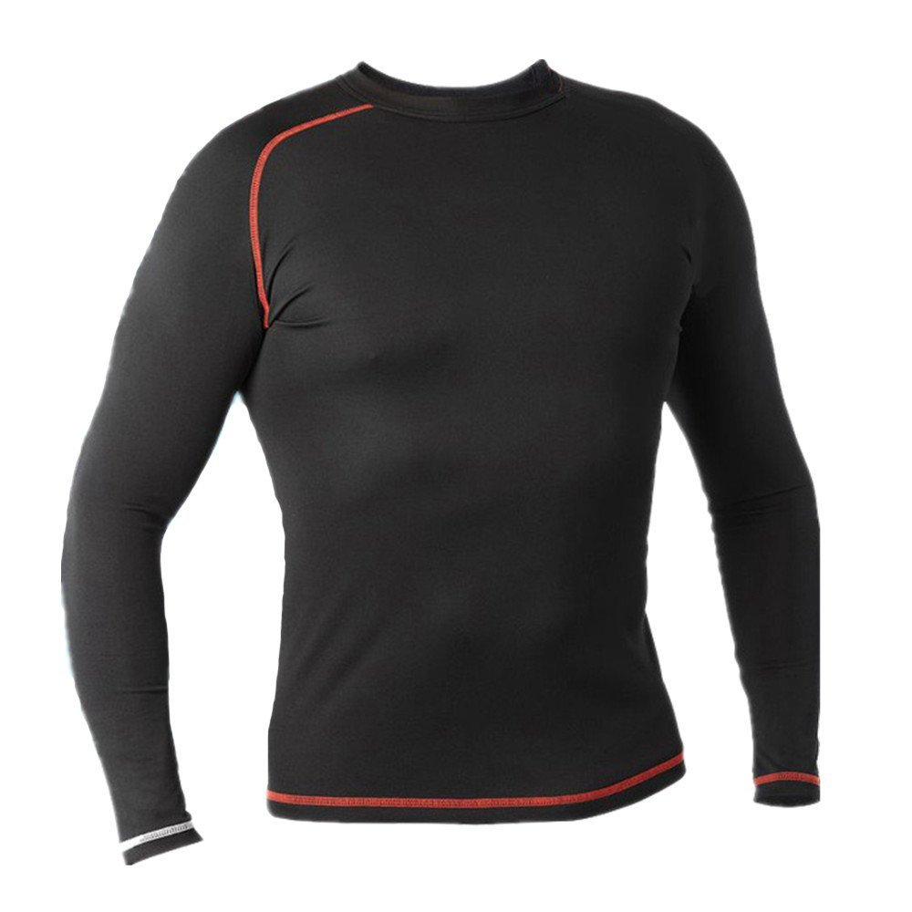 LANBAOSI Hot Sale Pro Combat Mens Red Line Contrast Long Sleeve Compression Shirts Cool Fitness Jersey for Men
