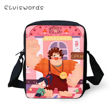 ELVISWORDS Cartoon Women Messenger Bags Wreck-It Ralph Prints Pattern Shoulder Kawaii Design Handbags Kids Mini Mochila