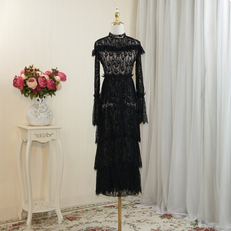 Elegant Black Lace Embroidered Dress 2017 Fall NEW Vintage Flare Sleeve Layered Dress Hollow Out Party Dresses One Pieces OM158