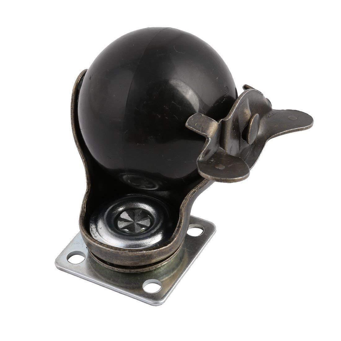 Útil [4 pacote] roda de rodízio de bola com capuz placa superior giratória, bronze antigo (1.5 polegadas com freio)-3