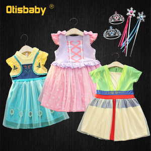 Baby Girls Mulan Dress Princess Anna Elsa Rapunzel Costume 1 2 Years Birthday Dresses Christmas Infant Party Fancy Fairy Dress(China)