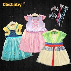Bebê meninas mulan vestido princesa anna elsa rapunzel traje 1 2 anos vestidos de aniversário natal infantil festa fantasia vestido de fadas