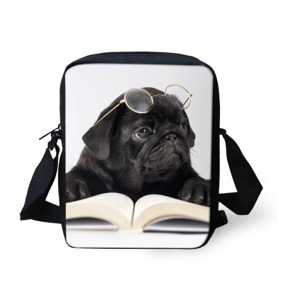 FORUDESIGNS Women's Messenger Bags Cute Animals Pug Dog Print Shoulder Bag  Kids Crossbody Bag for Children Girls Travel Handbag