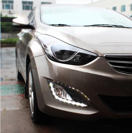ФОТО Hireno Super-bright LED Daytime Running Light for Hyundai Elantra 2013 2014 2015 Car LED DRL fog lamp 2PS