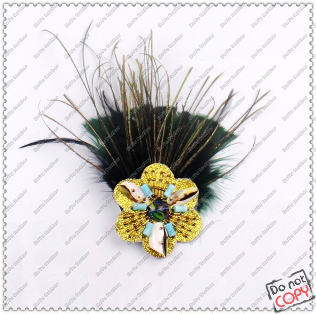 925 Sterling Silver Luxury Feather Just feeling feather brooch corsage feather hair accessory peacock feather blackish green